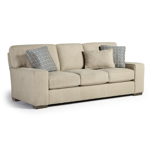 Vendor 411 Millport Casual Sofa with Welt Cords and Exposed Block Feet