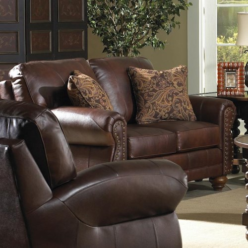 Best Home Furnishings Noble Traditional Leather Loveseat with Nailhead Trim