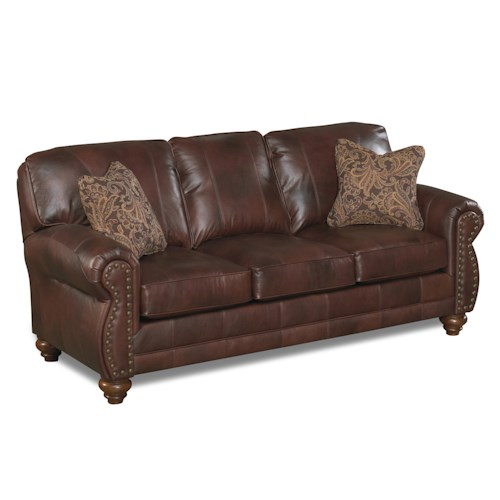 Best Home Furnishings Noble Stationary Leather Sofa With Nailhead Trim