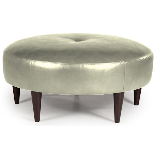 Best Home Furnishings Ottomans Odon Round Ottoman with Exposed Wood Legs
