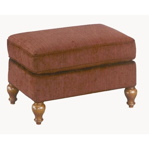 Morris Home Furnishings Ottomans Rectangular Ottoman with Turned Feet
