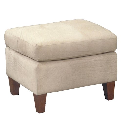 Vendor 411 Ottomans Contemporary Rectangular Cushioned Ottoman with Exposed Wood Feet
