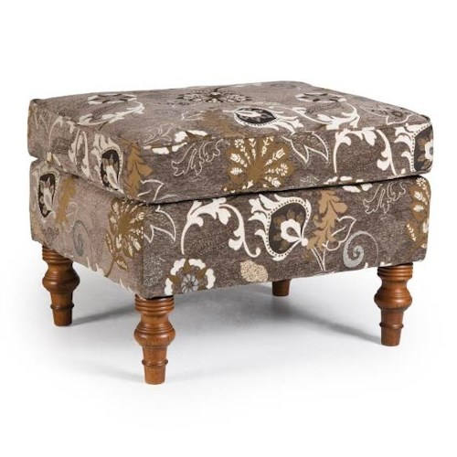 Morris Home Furnishings Ottomans Ottoman with Turned Wood Feet