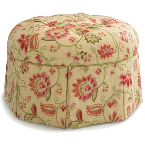 Vendor 411 Ottomans Rounded Ottoman with Button Top
