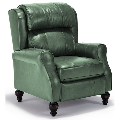 Best Home Furnishings Recliners - Pushback Traditional Patrick Pushback Recliner with Turned Wood Legs