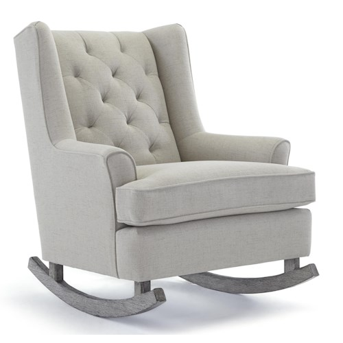Morris Home Furnishings Runner Rockers Paisley Button Tufted Rocking Chair with Wood Runners