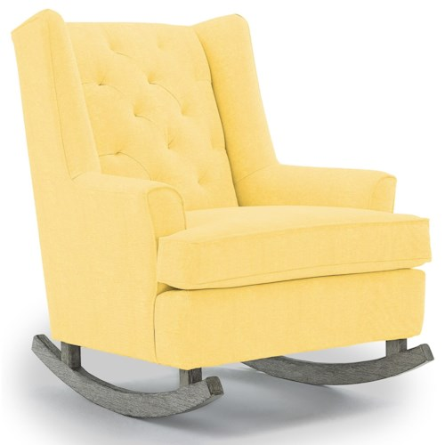 Best Home Furnishings Runner Rockers Paisley Button Tufted Rocking Chair with Wood Runners