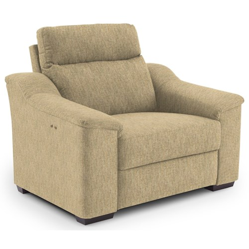 Morris Home Furnishings Tanya Contemporary Power Recliner with Wood Feet and Stationary Arms