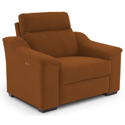 Best Home Furnishings Tanya Contemporary Power Recliner with Wood Feet and Stationary Arms