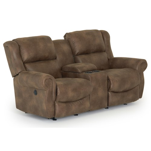 Morris Home Furnishings Terrill Transitional Power Rocker Recliner Loveseat with Drink Console
