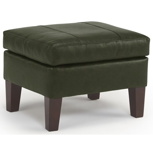 Best Home Furnishings Treynor Contemporary Ottoman with Tapered Feet and Tufting