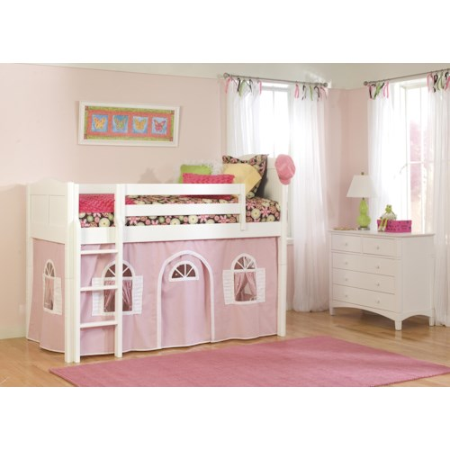 Bolton Mulberry -- Twin Loft Bed with Bottom Tent