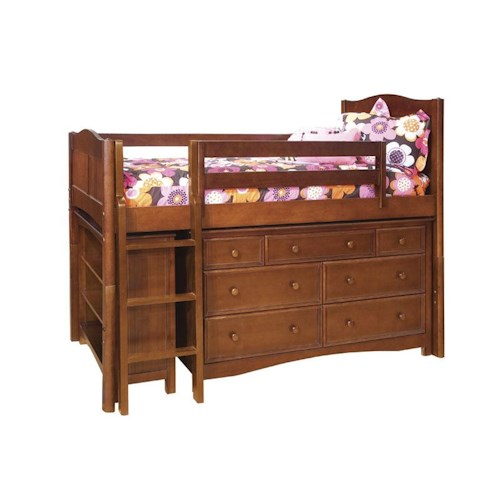 Bolton Mulberry Twin Loft Bed with Drawers