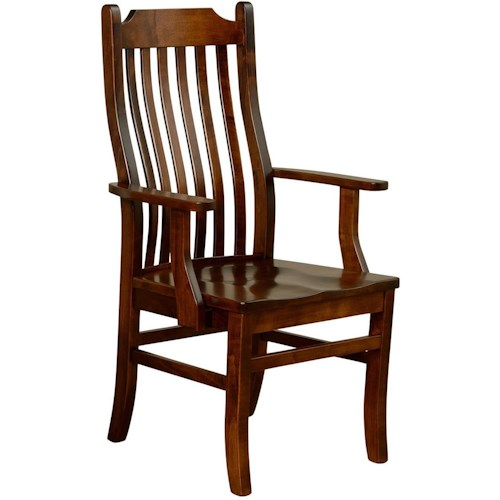 Borkholder Dining Chairs Gilbert Arm Chair with Contoured Slat Back