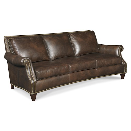Bradington Young Bates 568 Traditional Leather Sofa with Turned Arms, Nail Head Trim and Tapered Wood Feet