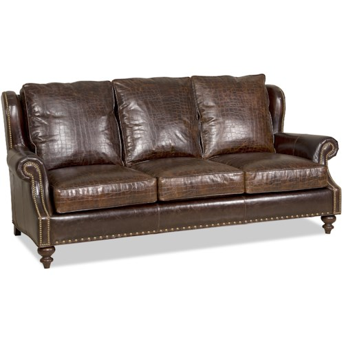 Bradington Young Bosworth Traditional Stationary Sofa with Turned Legs and Nailheads