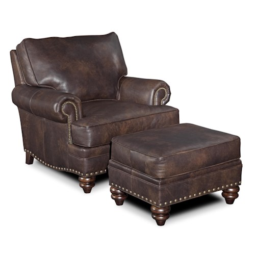 Bradington Young Carrado Traditional Chair and Ottoman with Nailheads and Turned Wood Legs