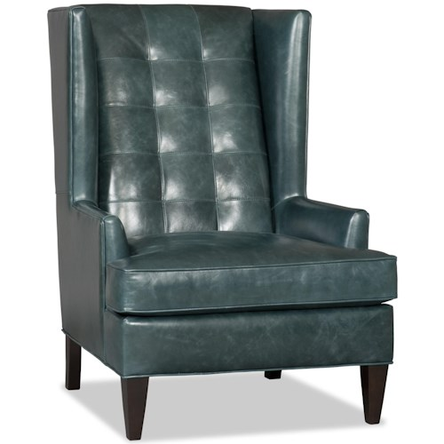 Bradington Young Club Chairs Zadie Modern Wing Chair with Tufted Back
