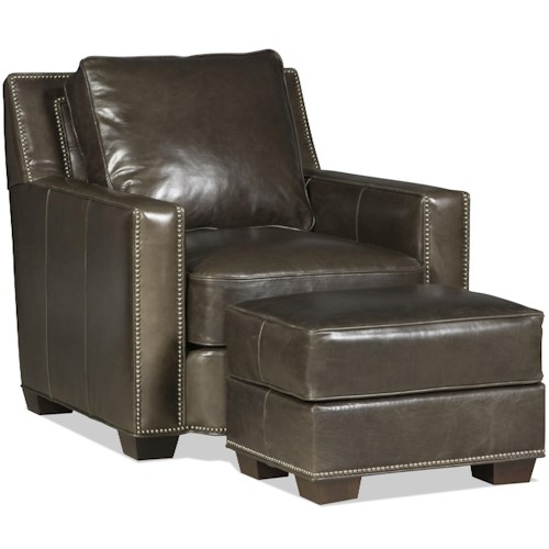 Bradington Young Cooper  Chair and Ottoman With Tapered Block Feet