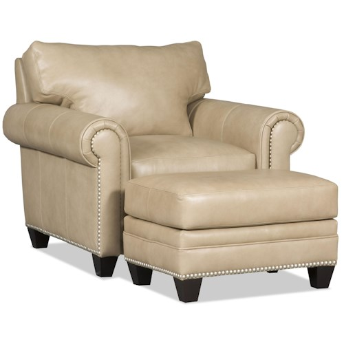 Bradington Young Daylen Customizable Rolled Arm Chair and Ottoman Set