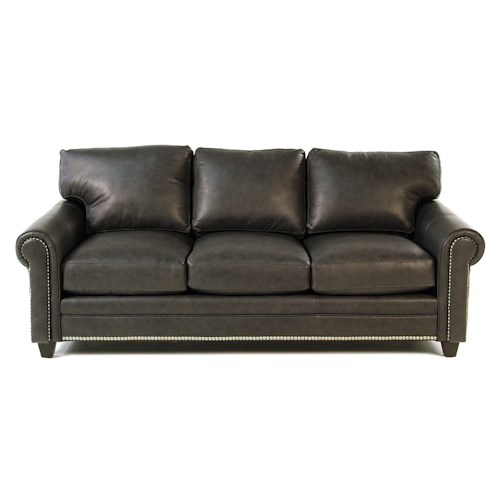 Bradington Young So You Leather Sofa with Rolled Panel Arms