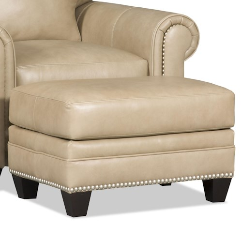 Bradington Young Daylen Customizable Ottoman with Nailhead Studs