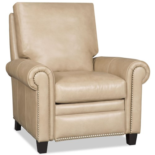 Bradington Young Daylen Customizable High Leg Recliner with Rolled Panel Arms