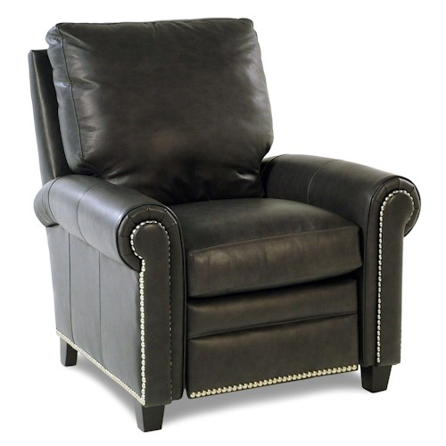 Bradington Young So You Leather High Leg Recliner with Rolled Panel Arms