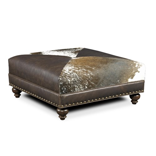 Bradington Young Decorative Ottomans Juno Cocktail Ottoman with Nailheads and Traditional Turned Legs