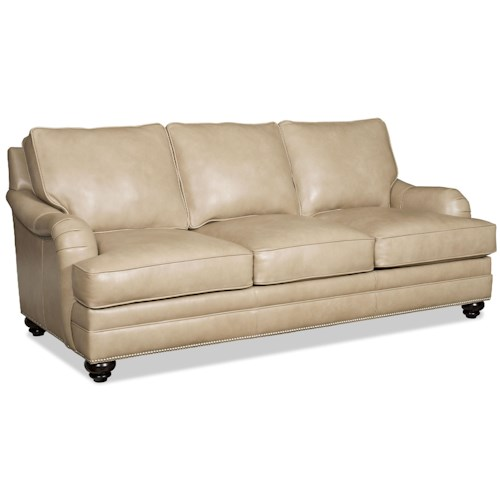 Bradington Young Derring Traditional Sofa with English Arms and Turned Legs