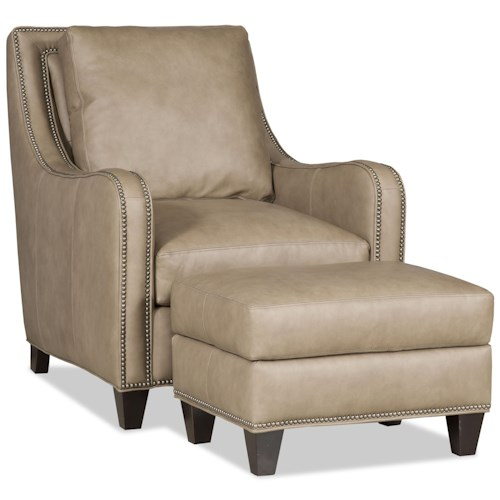 Bradington Young Greco Transitional Chair and Ottoman with Curved Track Arms and All-Over Nailheads