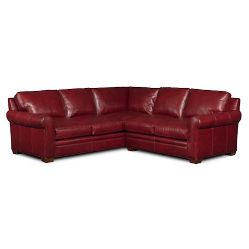 Bradington Young Landry Transitional Two Piece Sectional Sofa with Rolled Arms and Tapered Legs