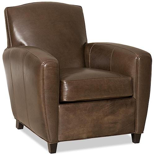 Bradington Young Liano Track Panel Arm Leather Club Chair