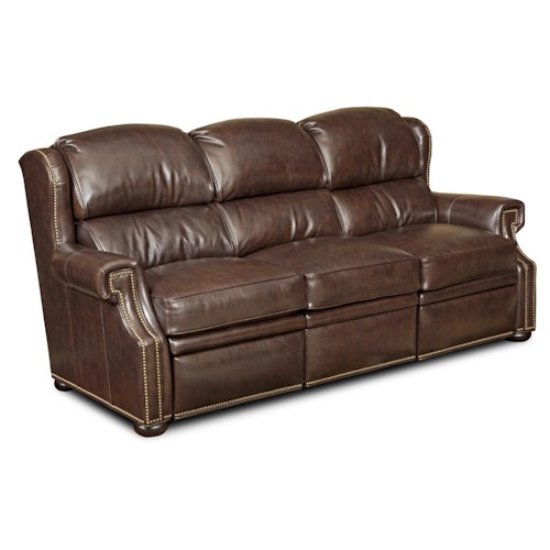 Bradington Young Reid Traditional Dual Reclining Sofa with Nailheads and Bun Feet