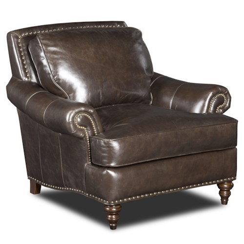 Bradington Young Renata Traditional Rolled Arm Chair with Two Sizes of Nailhead Stud