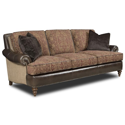 Bradington Young Renata Traditional Rolled Arm Sofa with Two Sizes of Nailhead Stud