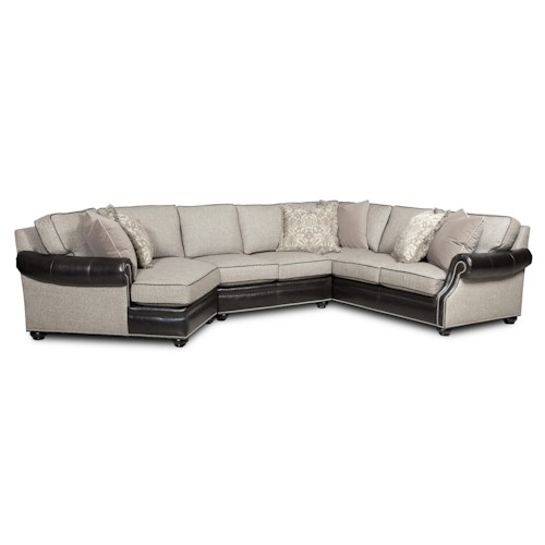 Bradington Young Warner  Three Piece Sectional Sofa with LAF Cuddler