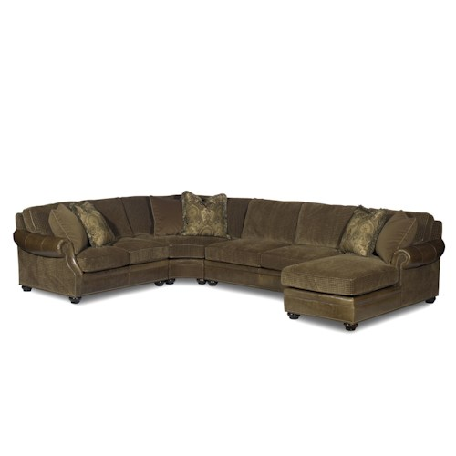 Bradington Young Warner  Sectional Sofa with Chaise Lounger