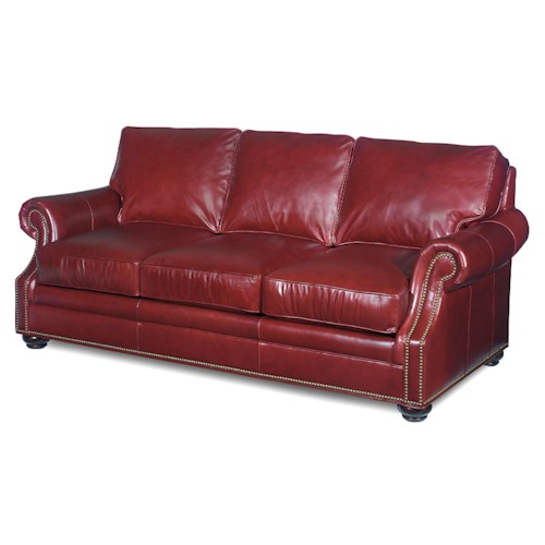 Bradington Young Warner  Stationary Sofa with Turned Wood Feet