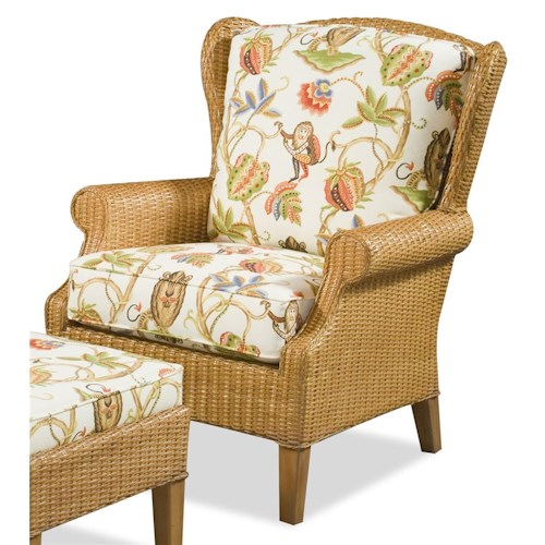 Vendor 10 1079 High Back Chair with Wicker Frame