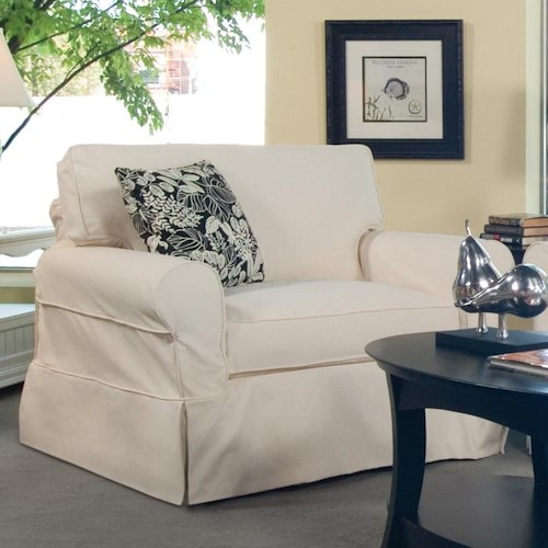 Vendor 10 728 Casual Upholstered Slipcover Chair with Traditional Skirt