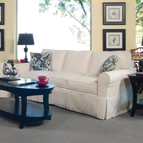 Vendor 10 728 Casual Three Seater Sofa with Rolled Arms and Slipcover