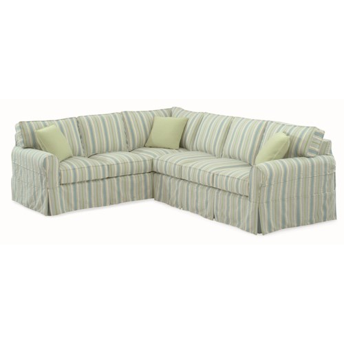 Vendor 10 728 Casual Sectional Sofa with Rolled Arms and Slipcover