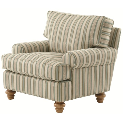 Vendor 10 773 Upholstered Accent Chair with Turned Wood Feet