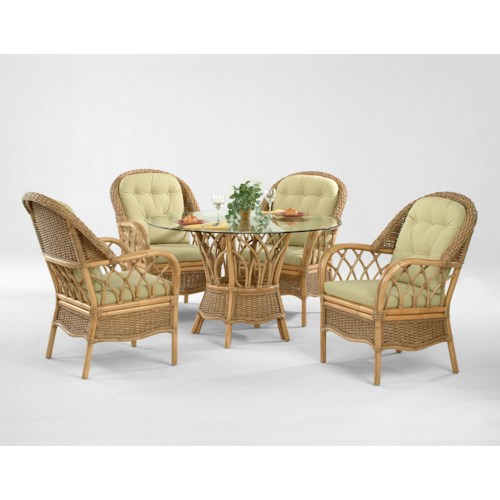 Vendor 10 Everglade Tropical Five Piece Rattan Dining Set with Beveled Glass Table