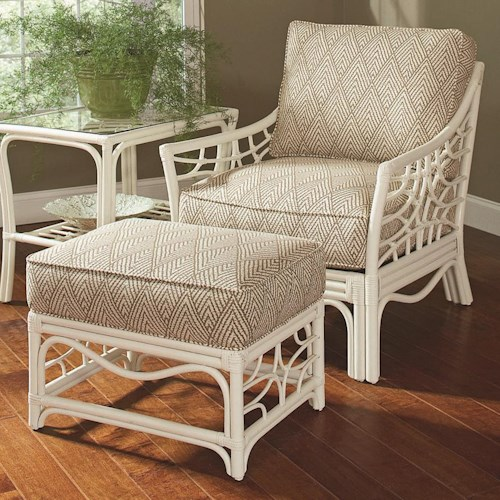 Vendor 10 909 Tropical Rattan Chair and Ottoman Set