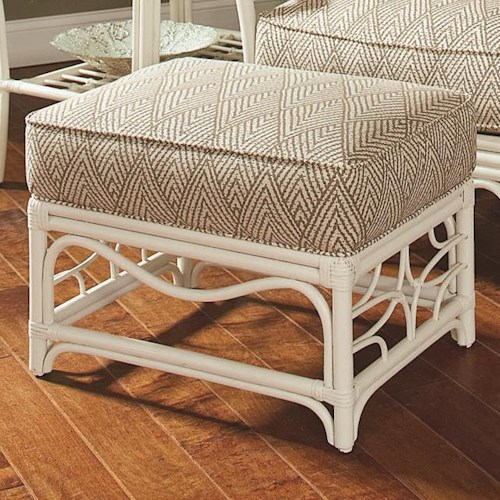 Vendor 10 909 Tropical Rattan Ottoman with Rattan Lattice