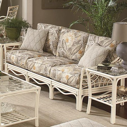 Vendor 10 909 Tropical Rattan Three Seater Sofa with Rattan Lattice Arms