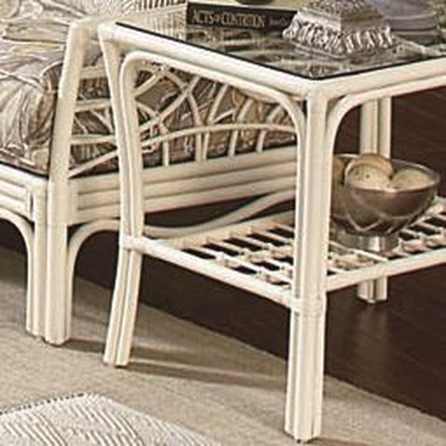 Vendor 10 909 Tropical End Table with Slatted Shelf