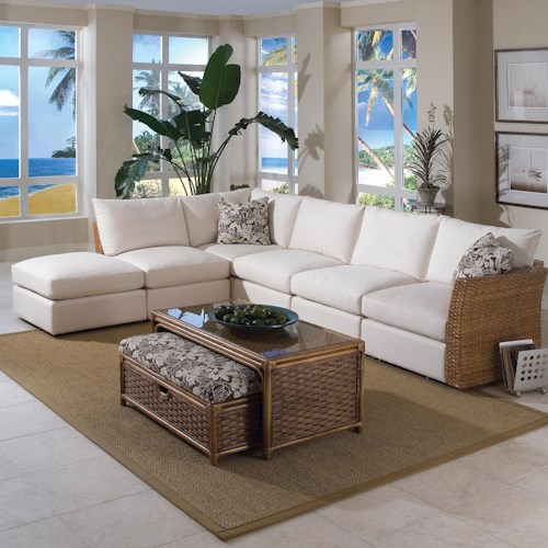 Vendor 10 Grand Water Point Tropical Sectional Sofa with Two Pillows